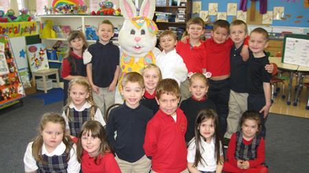kindergarten with easter bunny