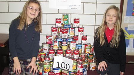 children with canned goods